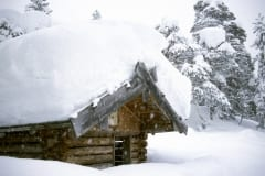 Snow-covered Weather shelter